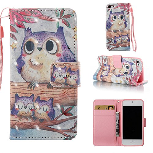 Dteck Schutzhülle für iPod Touch 5/6 (PU-Leder) mit Standfunktion, Magnetverschluss, Kartenfächer, Klapp-Cover für Apple iPod Touch 5. 6. Generation 10,2 cm, 00 Purple Owl 00 Ipod