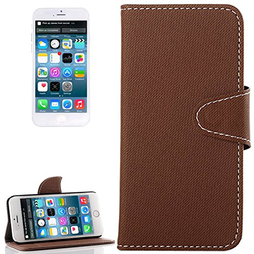 wortek Flip Case Jeans Look Apple iPhone 6 4,7 Zoll Tasche Etui Magnetverschluss Standfunktion & Kartenfach Weiß Dunkelbraun