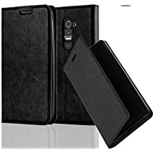 Cadorabo - Funda Book Style Cuero Sintético en Diseño Libro LG G2 - Etui Case Cover Carcasa Caja Protección con Imán Invisible en NEGRO-ANTRACITA