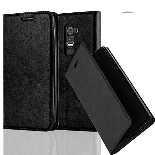 Gummi Lg G2 Case (LG G2 Hülle in SCHWARZ von Cadorabo - Handyhülle mit unsichtbarem Magnetverschluss Standfunktion und Kartenfach Case Cover Schutzhülle Etui Tasche Book Klapp Style in NACHT SCHWARZ)