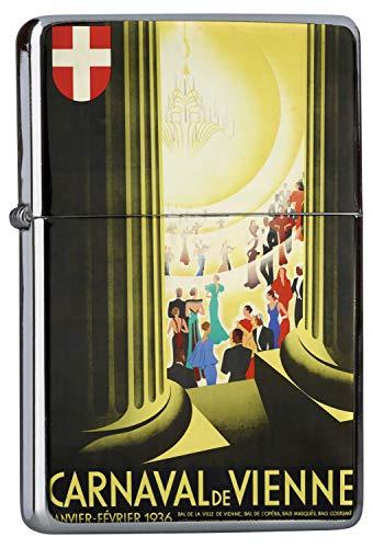LEotiE SINCE 2004 Chrom Sturm Feuerzeug Benzinfeuerzeug aus Metall Aufladbar Winddicht für Küche Grill Zigaretten Kerzen Bedruckt Nostalgie Karneval in Wien
