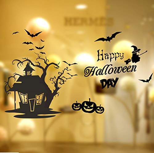 Wandtattoo Stickerei Schwarz Bat Schädel Pumhpkin Baum Haus Wandaufkleber Happy Halloween Tag Fliegende Hexe Hause Fenster Wandtattoos