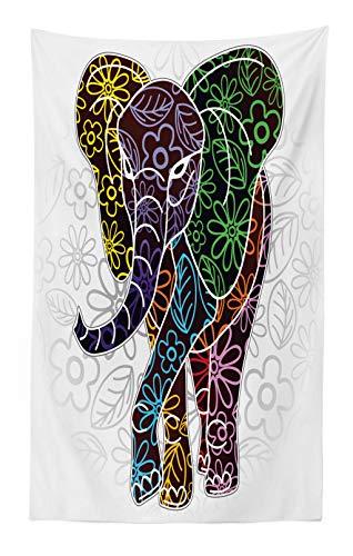 ABAKUHAUS Batik Tapiz de Pared y Cubrecama Suave, Gran Elefante Digital con Líneas Florales y Figuras Tribales Imagen Tema Vida Salvaje, Fácil de Lavar No Destiñe, 140 x 230 cm