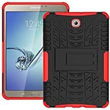 """DWay 8.0"""" Tab S2 T710 Custodias Hybrid Armor Design with Stand Feature Detachable Dual Layer Protective Shell Hard Back Cover Custodias per Samsung Galaxy Tab S2 8.0inches SM-T710 / T715 (Red)"""