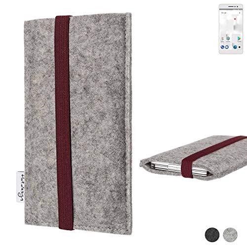 flat.design Handy Hülle Coimbra für Thomson Delight TH201 - Schutz Case Tasche Filz Made in Germany hellgrau Bordeaux