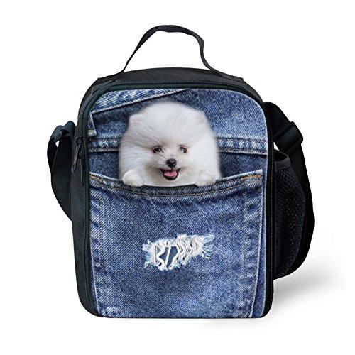 Showudesigns blu Animal Cat Dog Face lunch bag con tasca laterale a bottiglia d' acqua, color 1, small color 4
