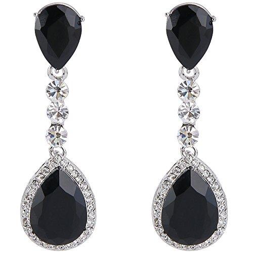 Clearine Mujer Moda Boda Nupcial Cristal Lagrima Romántico Dangle Pendientes Plata Tono Negro
