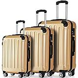 Flieks® ReiseKoffer Hartschale Trolley Koffer Gepäck-Sets mit 4 Doppel-Rollen, Set-XL-L-M (Champagner, Koffer-Set)
