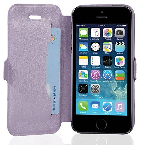Cadorabo - Étui / Housse de Protectio fermeture aimantée design: Fine Book Case pour Apple iPhone 5 / 5S / 5G en BLANC VIOLETS