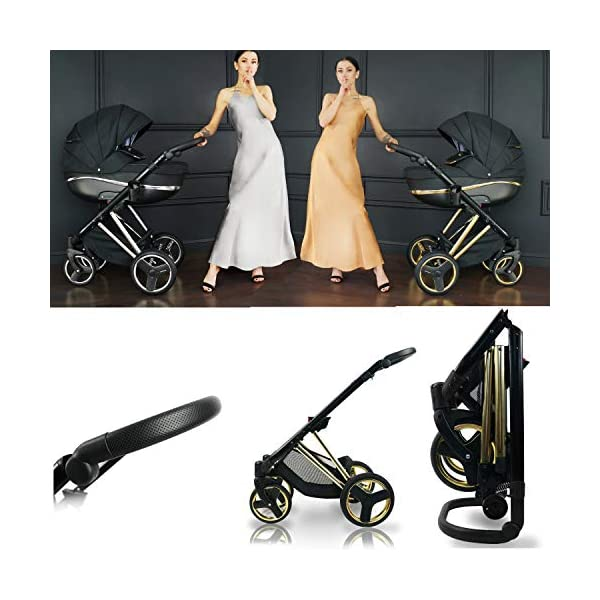 SaintBaby Stroller Buggy Baby seat Car seat Next II Gold Chrome Gold N1 4in1 with Isofix SaintBaby If you want the black frame instead of the gold frame, please inform us after the purchase. 3in1 or 2in1 Selectable. At 3in1 you will also receive the car seat (baby seat). Of course you get the baby tub (classic pram) as well as the buggy attachment (sports seat) no matter if 2in1 or 3in1. The car naturally complies with the EU safety standard EN1888. During production and before shipment, each wagon is carefully inspected so that you can be sure you have one of the best wagons. Saintbaby stands for all-in-one carefree packages, so you will also receive a diaper bag in the same colour as the car as well as rain and insect protection free of charge. With all the colours of this pram you will find the pram of your dreams. 3