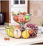 CMBJX Cesto di Frutta Vassoio di Frutta, Cestino di Frutta Piatto Spuntino Moderna Piatto di Frutta Fruit Basket Doppio Soggiorno casa Candy Snack Coffee Table di stoccaggio Basket Piatto di Cibo