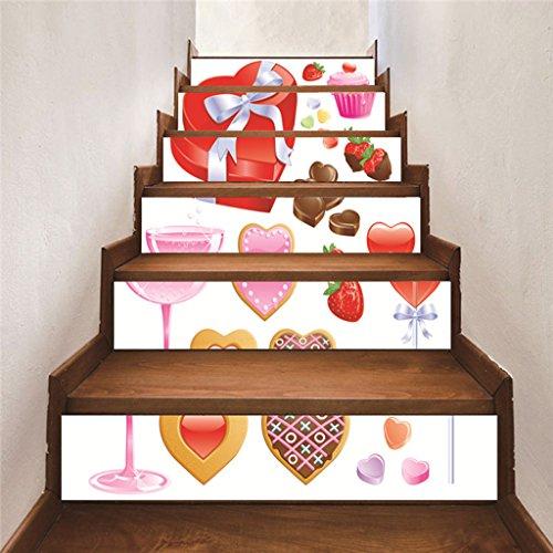 RLF LF Treppen Aufkleber Dekor 3D Drucken Candy Selbstklebende Treppe Applique Tapete Wasserdichte Abnehmbare Wohnkultur 100Cmx18cm X 6 Stück von RLF.LF,White,100Cm*18Cm (Applique Candy)