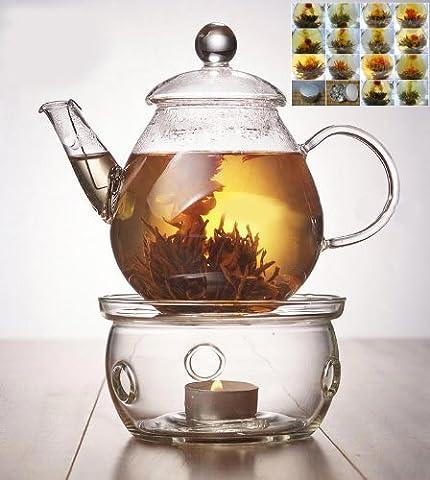 Glass Teapot 650ml/23oz+ warmer +12 Blooming Flower tea tin Gift