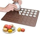 Macarons silikon backmatte (38,5*28cm) backformen set mit einweg-spritzbeutel für Pralinen, Plätzchen, Keksen inkl 4 spritztüllen zum torten dekorieren aus hochwertigem & Lebensmittelqualität Silikon