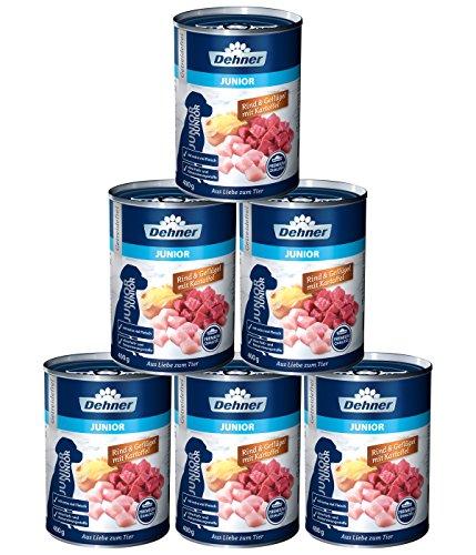 Dehner Premium Hundefutter Junior, Rind und Geflügel mit Kartoffel, 6 x 400 g (2.4 kg)