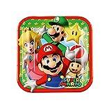 8 Petites assiettes en carton Super Mario 18 cm