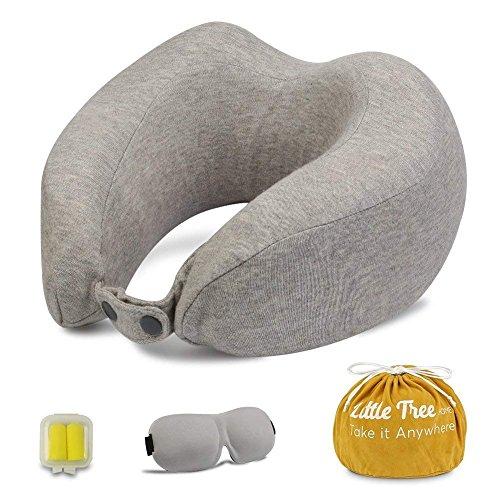 Almohada de Viaje Cervical,espuma de memoria y Cómoda de Diseño Ergonómico para Proteger el Cuello y la Columna Vertebral,Dormir gafas, tapones para los oídos y capazo-Little Tree (Gris)