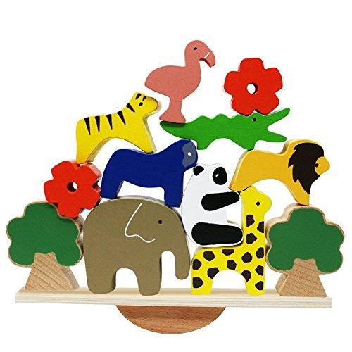 Lewo De madera Animales Apilado Bloques Equilibrio Juegos Montessori Juguete para niños...
