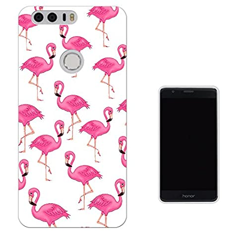 947 - Cool Cute Fun Flamingo Doodle Collage Kawaii Pink Illustration Pink Birds Design Huawei Honor 8 Fashion Trend Protecteur Coque Gel Rubber Silicone protection Case Coque