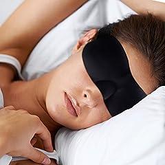 Idea Regalo - Mascherina per Dormire Notte Gli Occhi 3D - Mascherina per Donne Uomini Bambini Completamente opaco - Mascherina per il sonno Tappi per orecchie incluso - Sleep Mask - Sleeping Mask Nero - Dormire su un aereo, auto, lavoro