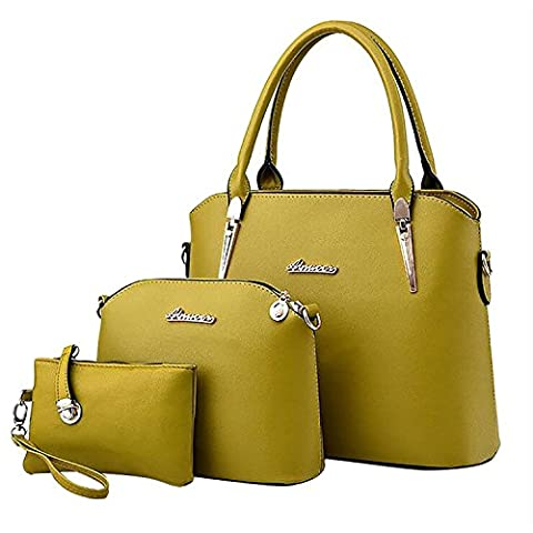 ADOO Fashion Pu Leather Handbag + Shoulder Bag + Purse 3pcs Sac Tote Fruit vert