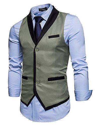 YCHENG Herren Anzug Weste Slim fit Business Freizeit Hochzeit Basic Anzugweste Grau