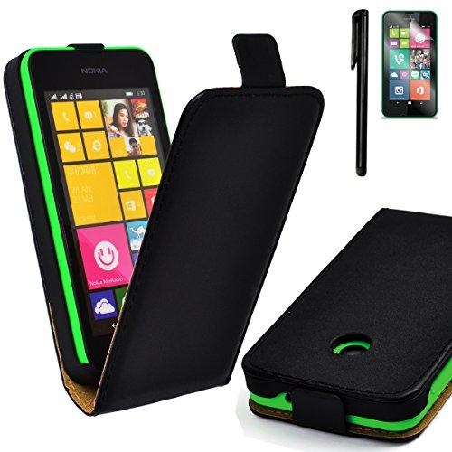 4in1 Flip Case für Nokia Lumia 530 / 530 Dual Sim Kunstleder Tasche Hülle mit Magnetverschluss in Schwarz + 1x Displayfolie + 1x Touchpen