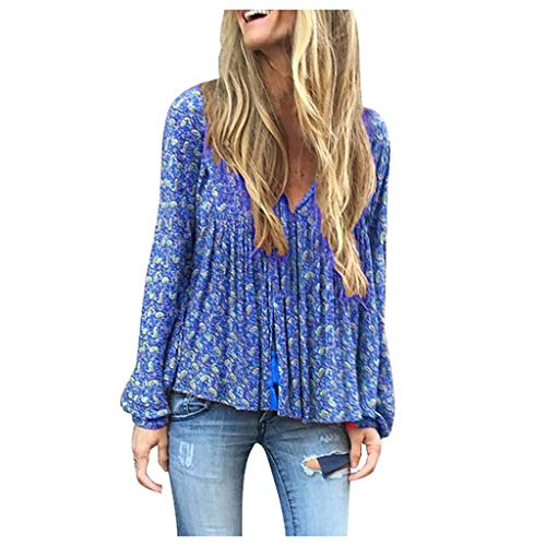 Deman outfit-Artistic9 Damen Empire Taille Tunika Oberteile Plus Größe Floral Langarm Pullover Sweatshirt lose Slouchy Shirts 2019 lässige T-Shirt Bluse Tee -