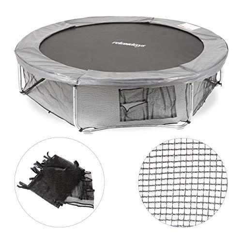 Relaxdays Rahmennetz für Gartentrampolin, mit 3 Aufbewahrungstaschen, Bodensicherungsnetz für Trampolin Ø 305cm, schwarz