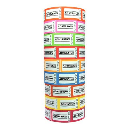 Roll Tickets, Admission Mixed Colour (10 Pack)