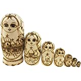 Unpainted Coloring Dolls Russian Girl In Kremlin Pattern Wooden Handmade Russian Nesting Dolls Matryoshka Dolls Set 7 Pieces For Kids Toy Birthday Christmas Gift Home Decoration Parent-child Time