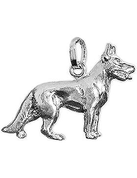 CLEVER SCHMUCK-SET Silberner Anhänger Deutscher Schäferhund 3D vollplastisch glänzend STERLING SILBER 925