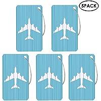 Aolvo Etiqueta de aluminio para equipaje, 5 unidades de metal duro maleta bolsa identificador ID etiquetas Set forma de avión con cadena de cuerda de acero inoxidable y tarjeta en blanco para viajes y uso diario, Azul