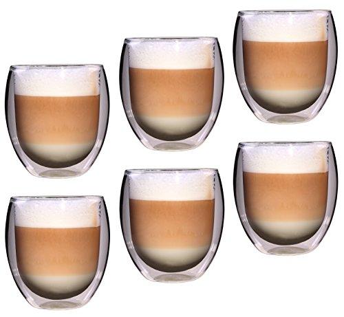 Feelino Rondo doppelwandige 6 Stück 400 ml große Teegläser / Kaffeegläser, edles und extra großes Thermoglas mit Schwebe-Effekt im Geschenkkarton