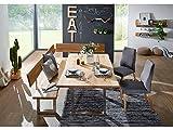 ZADAR Eckbank mit Rückenlehne und Baumkante, Wildeiche geölt, Fuß Edelstahl, 130 x 200 cm, rechts