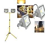 VINGO® 2X 30W LED Warmweiß Baustrahler Außen Flutlicht Strahler Objektbeleuchtung Security Light Wasserdicht Stabiles Dreibein-Stativ für Baustrahler