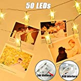 LED Clip Lichterkette 5M/50LED Foto Clip Lichterkette batterie/USB betrieben hängende Fotos Karte Party/Weihnachten/Hochzeit Dekoration Lichterketten (Warmes Gelb)