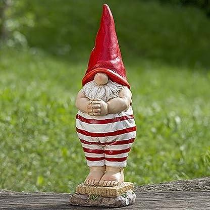 Unbekannt Decorazione, arredamento, statue da giardino – Scultura di nano, gnomo in costume da bagno – colore: bianco/rosso – ca 46 cm