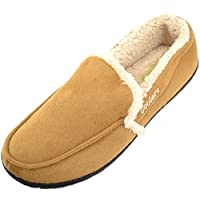 Absoluta skor män mjuka fleecetofflor/inomhusskor med varma fuskpäls inners