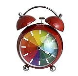 Wecker analog ohne Ticken mit Licht und Snooze, Schlummerfunktion Quarz-Wecker (Rot)