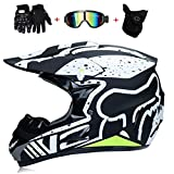 WLBRIGHT Adulti Motocross Casco Regalo Maschere Guanti Volpe Moto Racing Casco Integrale per Uomo e Donna,C,XL
