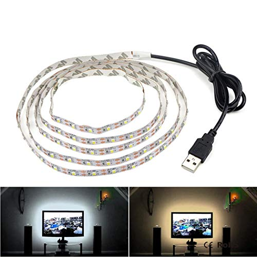 Yukio SmartLife- LED Strip Band RGB Weiß 50cm-5M USB LED Beleuchtung, LED Streifen für Hintergrundbeleuchtung Fernseher TV-Bildschirm und PC-Monitor