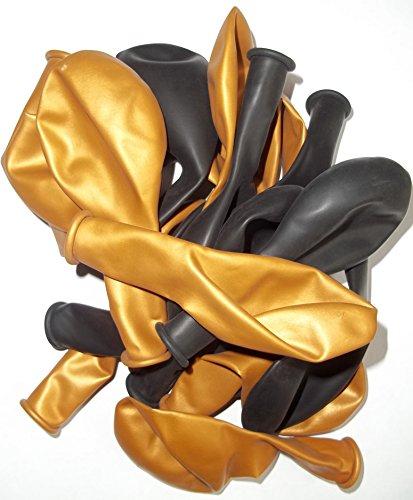 50-schwarz-gold-metallic-Luft-Ballons glänzend-metall-Feier-Deco-Geburtstag-Fete-Helium-geeignet EU Ware vom Sachsen Versand (Ballons Schwarz Gold Und)