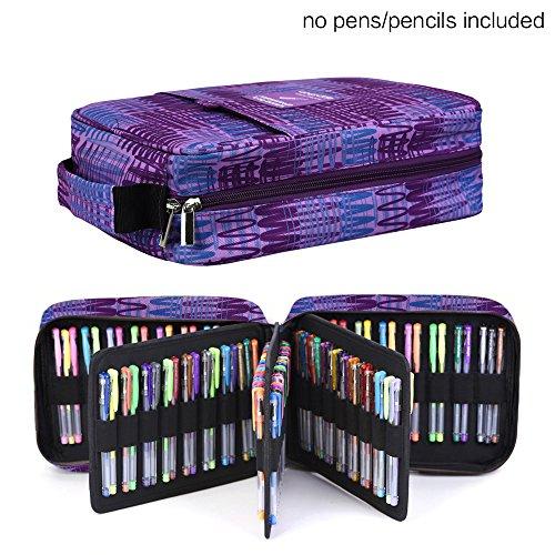 Qianshan - Astuccio per la cancelleria, può contenere fino a 100-150 penne o matite colorate stripe purple