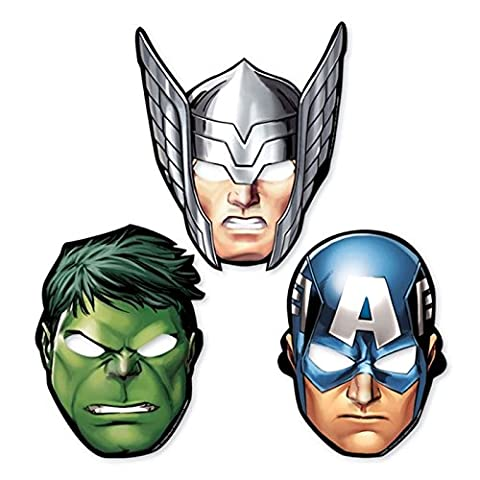 8x Avengers Paper Party Masks Thor The Hulk Captain America Super Hero Superheroes Card Birthday