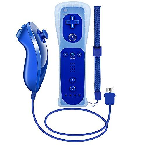 Wii Controller und Nunchuk, XW12 Nintendo Wii Ferbedienung und Nunchuk mit Silikonhülle und Handschlaufe für Wii und Wii U Dunkleblau (Wii-original)