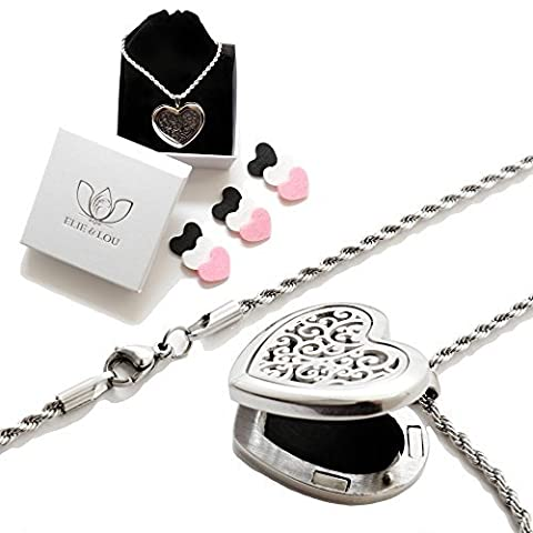Essential Oil Diffuser Necklace Aromatherapy Gift Set - Hypo-Allergenic 316L Surgical Grade Stainless Steel Locket Pendant with 24