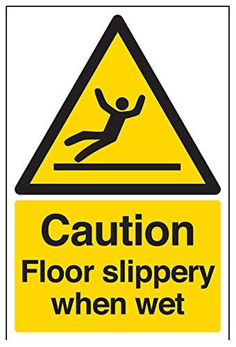 """VSafety Allgemeines Warnschild """"Caution Floor Slippery When Wet"""" (in englischer Sprache), selbstklebend, Hochformat, 200x 300mm, schwarz/gelb (63044AU-S)"""