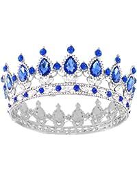 Santfe Corona de Zafiro de rubí de 5 cm para Novia, Boda, jaulas para el Pelo, joyería de Abalorios con Diamantes de imitación, Corona de Diadema de Reina