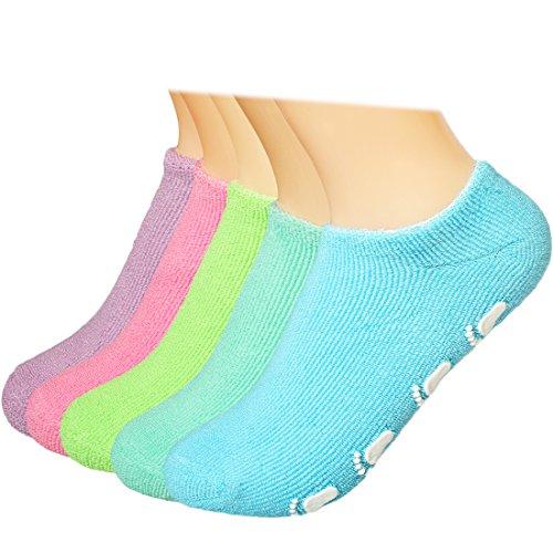 Kilofly - set di 5 paia di calzini antiscivolo in cotone per bambini, 18-30 mesi multicolore multi 4-7 anni